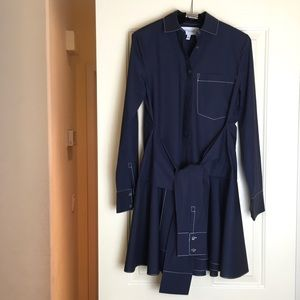 Derek Lam 10 Crosby Navy Tie Waist Shirt Dress